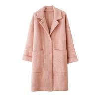 Double faced Woolen Coat Women 2019 Autumn Winter Faux Mink Cashmere Coats Plaid Jacket Female Loose Blends Woolen Coats A2412