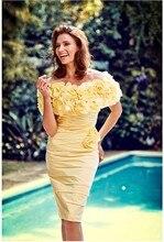 Gelb Weg Von der Schulter Mantel Cocktailkleider 2017 Kurze Enge Einbau Vintage Sexy Robe de Cocktail Party Kleider Für Frauen