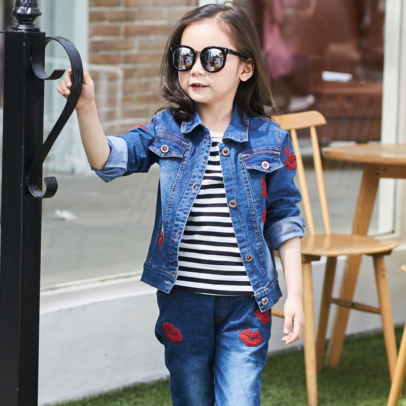 2019 Kids Girl Clothes Outfits Red kiss Sleeve denim Jacket Tops Denim Jeans Pants Spring Autumn 2pcs set 4 5 6 7 8 9 10 years in Clothing Sets from Mother Kids
