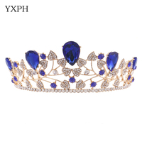 YXPH Blue Crystal Gold Color Leaf Chic Sparkly Rhinestones Bride Tiaras Crowns Bridal Hair Accessories Wedding