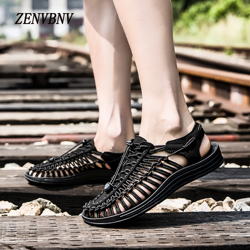 ZENVBNV New summer Unisex Outside shoes quality comfortable sandals fashion design men casual shoes lover handwork weave sandals