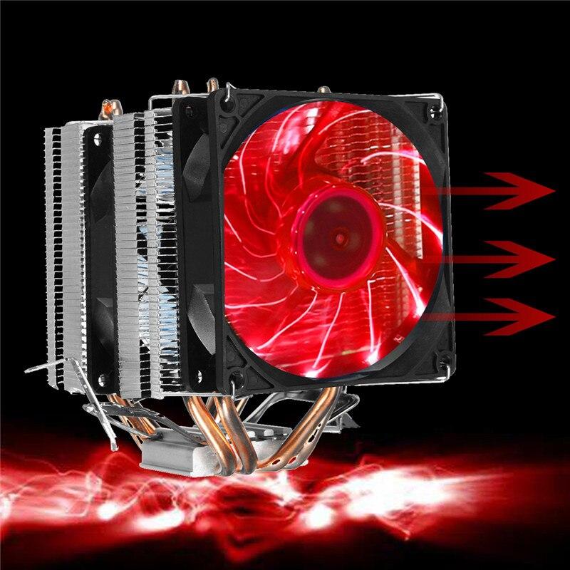 4 Heatpipe Radiateur CPU Ventilateur De Refroidissement Refroidisseur Calme Radiateur Pour Intel Intel LGA 2011/1366/1155/1156/775 AMD Pour Ordinateurs de Bureau Ordinateur
