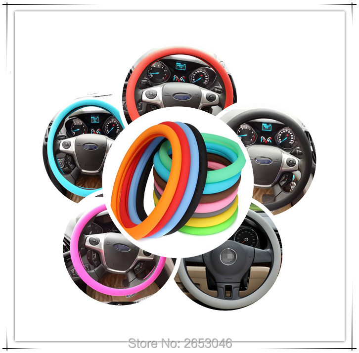 Universal Auto silicone Car Steering Wheel Cover For Citroen C5 Ford Focus Nissan Qashqai Chevrolet Cruze SsangYong Dacia duster