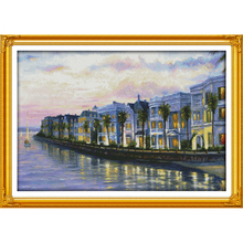 Everlasting love Night at the seaside villas Chinese cross stitch kits Ecological cotton stamped 11 CT Christmas sales promotion