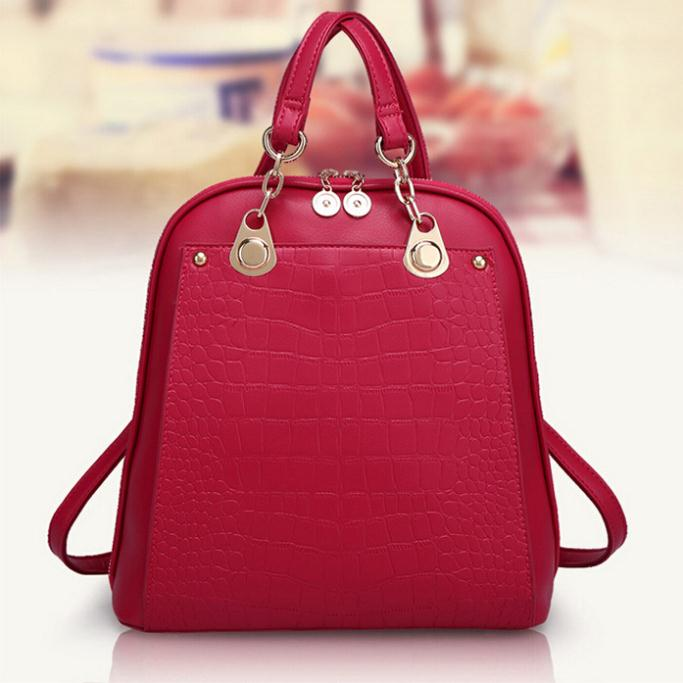 [6 Colors] New 2015 Hot Fashion Leather Women Bag Backpack Alligator Student Backpacks Sweet School Bag Special Offer WBG1020