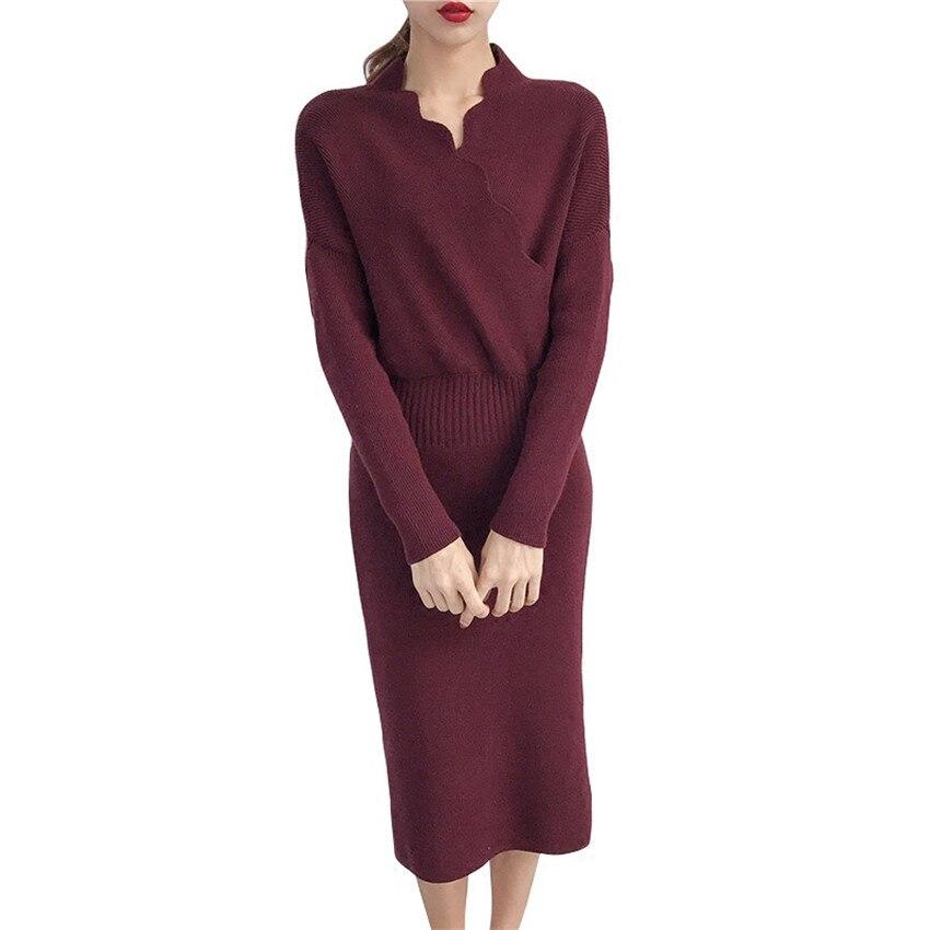 Autumn Winter Slim Knitted Sweater Long Dresses Sexy Sheath Bodycon Pencil Dress Mid-Calf Ruffles Slash Neck V-Neck Dress Mw017