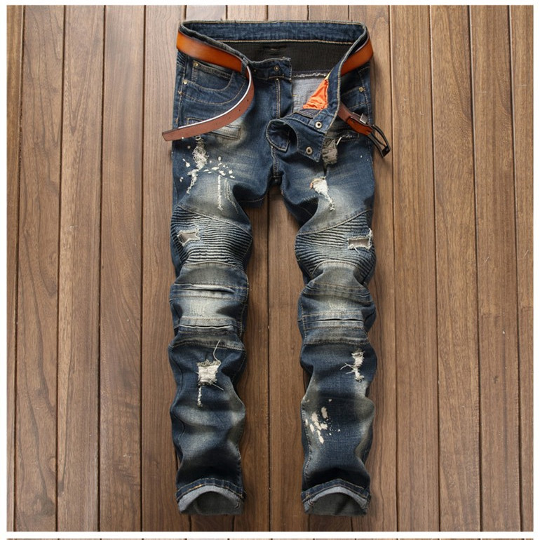 2017 Mens Biker Jeans Slim Fit Style Destroy Patc Jeans Men Trousers Hole Patch Ripped Slim Blue Pants Hip Hop Warm Pants 2017 fashion patch jeans men slim straight denim jeans ripped trousers new famous brand biker jeans logo mens zipper jeans 604