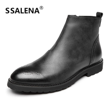 Men Personalized Leather Boots Male Handsome Round Toe Zipper Street Boots Comfortable Men Working Winter Shoes AA51588