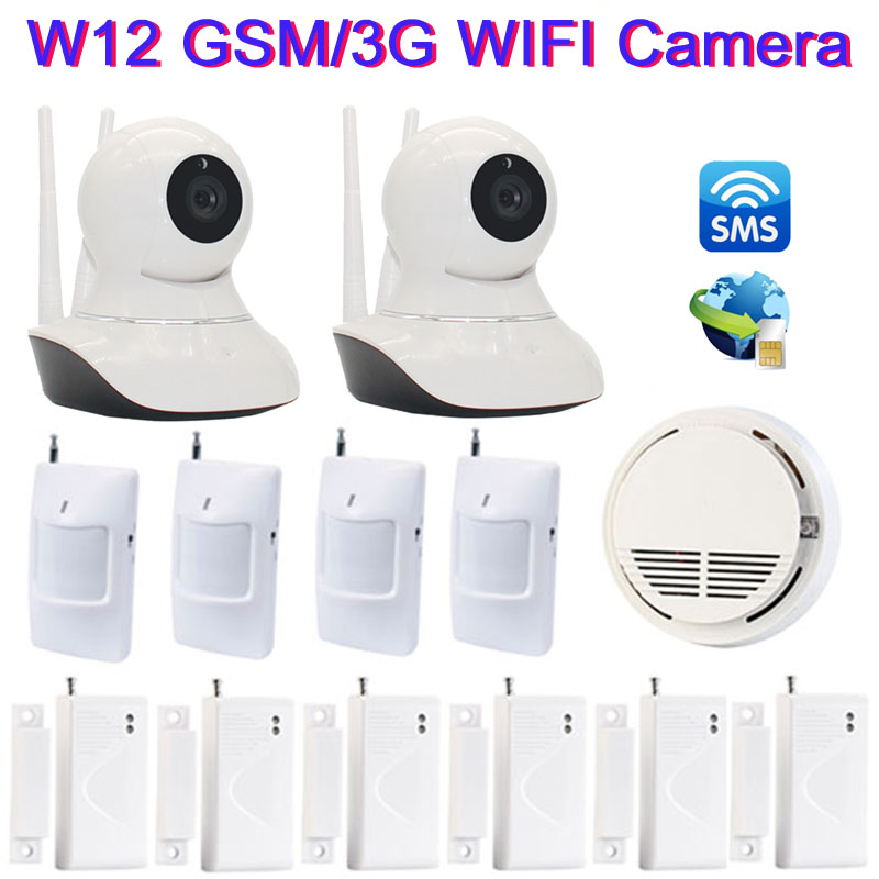 32G SD Card+WIFI IP Camera Alarm System Home Security GSM SMS Camera With Somke Detector Wireless Door Sensor Monitor W12J wireless waterproof security camera system 2 4g long transmitter distance 4cameras dvr monitor up to 32g sd card wifi ipcam kits