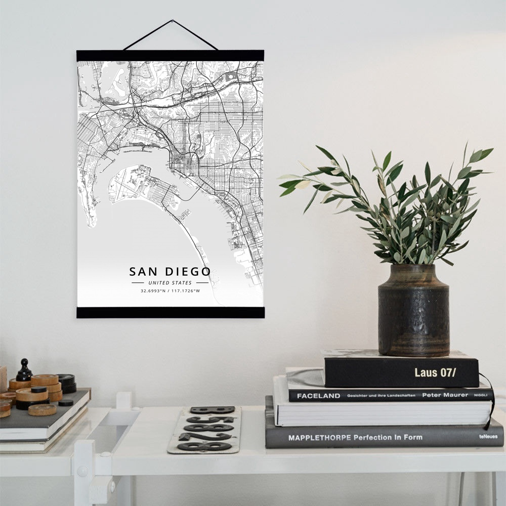 Home Decor San Diego: San Diego, United States City Map Wooden Framed Canvas