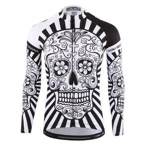 Image 2 - 2019 jesień Pro koszulka kolarska z długim rękawem czaszka Retro mężczyźni koszulka z długim rękawem koszulka nosić zespół Ropa De Ciclismo długi rower Jersery