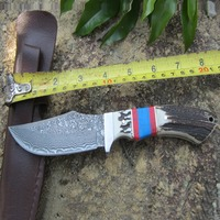 Outdoor knife Damascus steel knife Serve with double colour wooden handle Collect small straight knife
