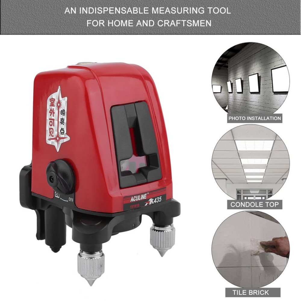 AK435 2 Line 1 Point Laser Spirit Level 360 Degree Self-Leveling Measuring Tool Multifunctional Cross Line Laser Tool