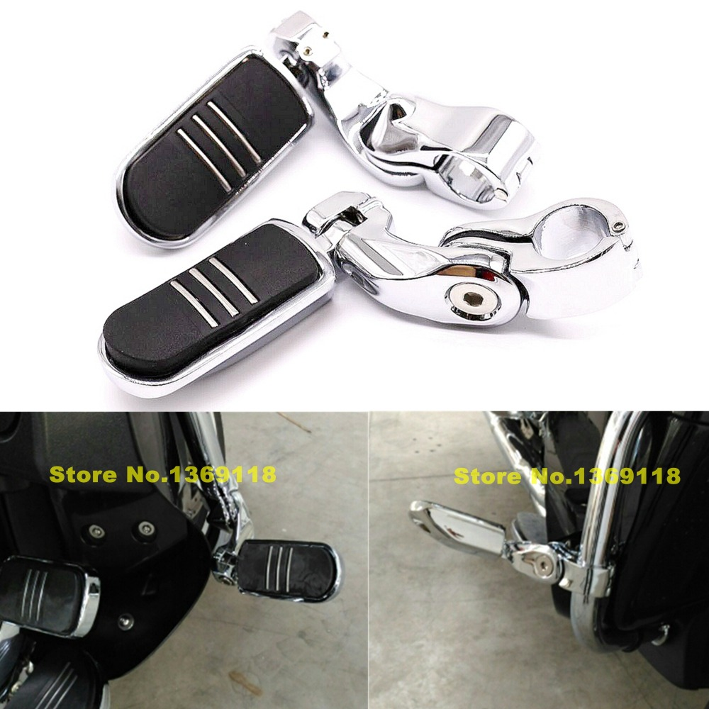 32mm 1.25 Chrome Motorcycle Engine Guard Highway Foot Pegs Footpeg Kit for Harley Davidson Angled Highway Engine Guard Foot Peg