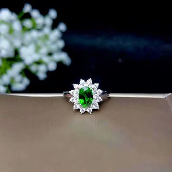 shilovem 925 sterling silver Natural diopside Ring fine Jewelry Customizable women trendy wedding  open wholesale lj2.50501agt
