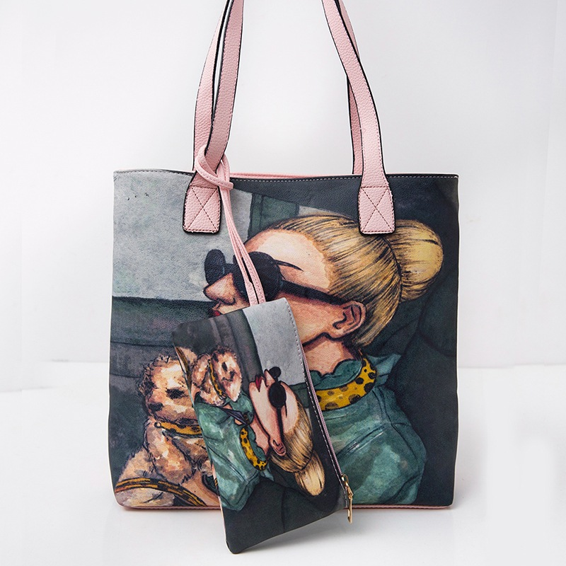 Women Pu Leather Handbag Graffiti Rock Girls Picture Package Messenger Bags Handbag Painted Art Bags Painting
