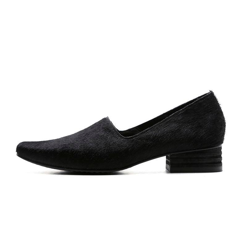 Marque Filles Allbitefo Sra Bout Qualité Chaussures Pompes Noir Épais Zapato Talon blanc Femmes Haute Talons Carré Cheveux Printemps Mode De Cheval MVpSzqGU