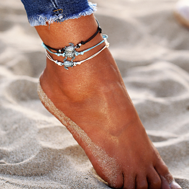 17KM Vintage Multiple Layers Anklets for Women Bohemian Retro Turtle Rope Anklet Sexy Beach Bracelet Chain Animal Foot Jewelry 2