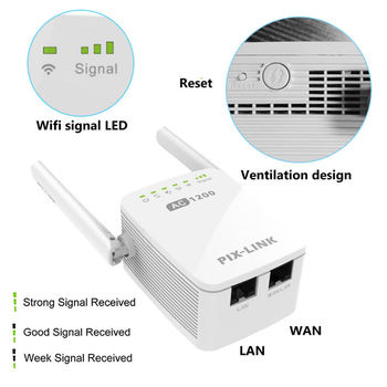 Wifi Extender Antenne | Wifi Range Extender Wireless Repeater Pixlink 1200Mbps Wifi Extender Internet Signal Booster Mit Externe Antennen Volle Abdeckung
