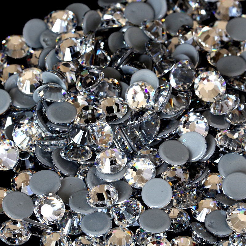 AAAAA Top Quality Clear Hot Fix Rhinestone Super Bright Glass Strass Iron On Crystal Hotfix Rhinestones Fabric Garment Y2791