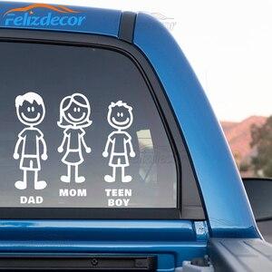 Image 3 - DIY self adhesive Figur Familie Decals Gestanzte Vinyl Aufkleber Fam Autoscooter Fenster Slaps Familie Spaß Hund Katze baby Kinder L826
