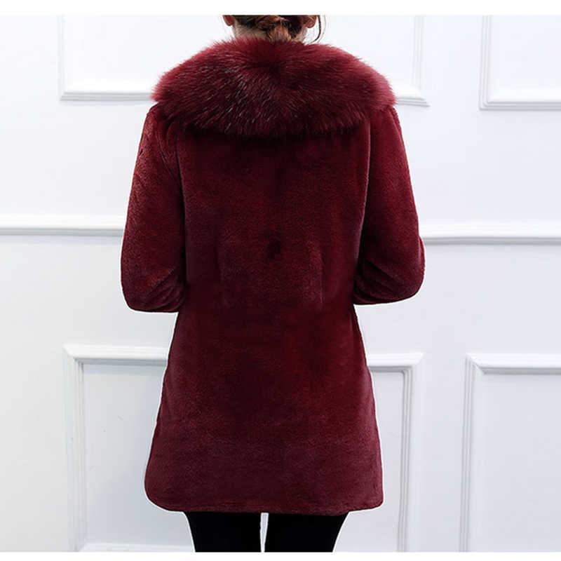 YAGENZ 2019 חדש חורף פו שועל פרווה צווארון פרווה גברת מעיל מעיל אלגנטי Slim בינוני ארוך חורף עבה שחור נשים פרווה מעילי 5XL