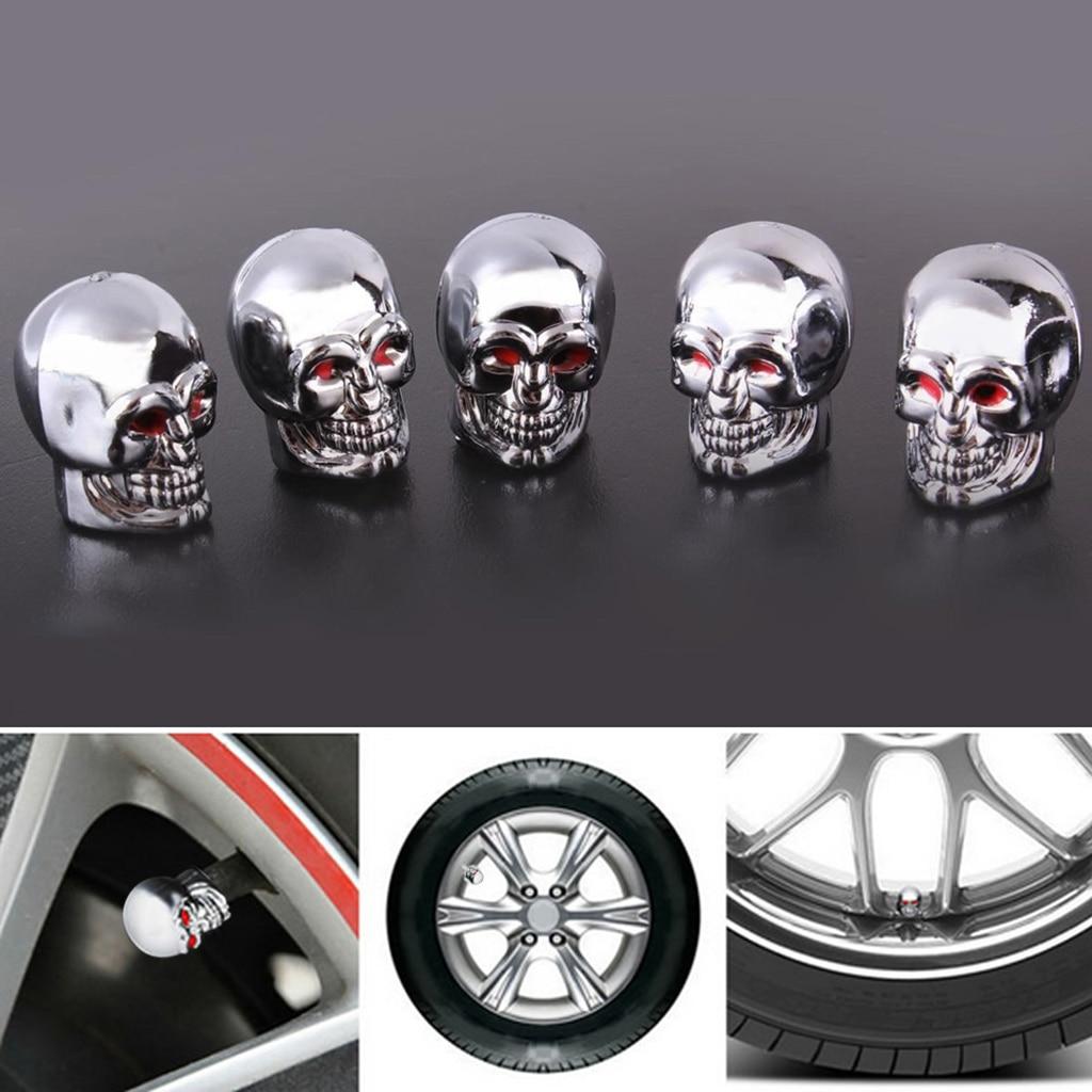 5 개 두개골 타이어 타이어 휠 자동차 자동 밸브 캡 - 자동차부품 - 사진 6