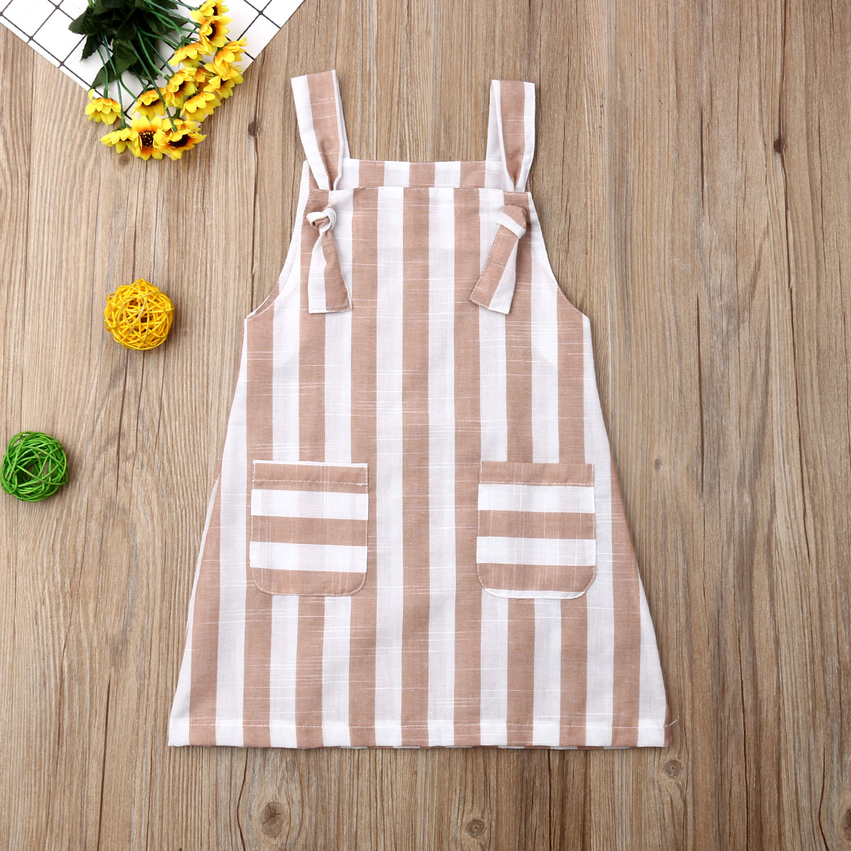 Pudcoco Summer Toddler Baby Girl Clothes Sleeveless Striped Strap Dress Casual Pockets Summer Sundress
