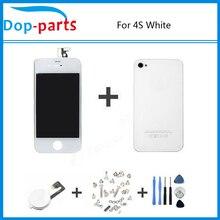 WhiteTouch Pantalla LCD Display + Digitalizador + cubierta de Cristal Trasera de Vivienda cover + home botón pieza de recambio para el iphone 4s y tornillo herramientas