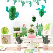 3pcs Cactus Honeycomb Hanging Decorations Summer Tropical Birthday Party Decor Hawaiian Llama Baby Shower Wedding