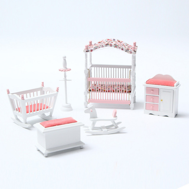 New 6pcs/set Wooden DIY Mini Dollhouse Bedroom Furniture Toys Set Miniature  Kids Play Toy