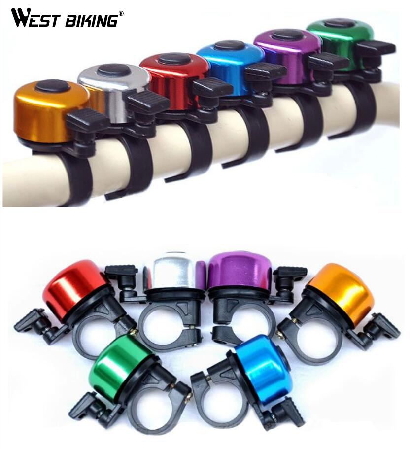 WEST BIKING Aluminum Alloy Loud Sound Bicycle Bell Handlebar Safety Metal Ring Environmental Bike Cycling Horn Multi Colors 6150
