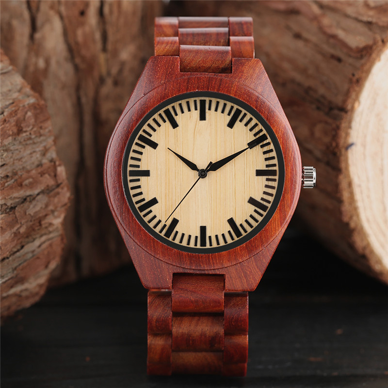 Red Wood Watch Men Full Nature Wooden Bamboo Handmade Creative Watches Women Casual Bangle Fashion Simple Clock Gift 2018 New fold clasp men women casual full wooden new arrival simple nature wood sport cool modern wrist watch gift creative bamboo