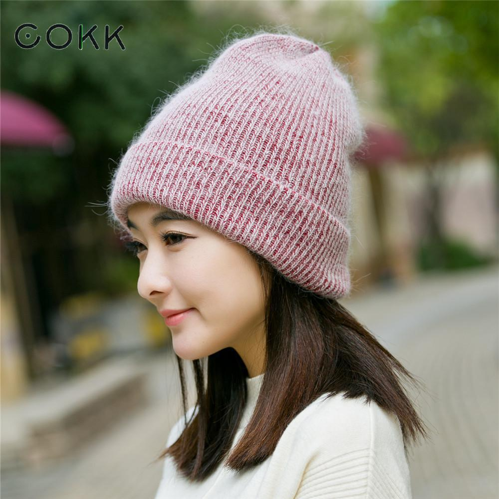Cokk Winter Hats For Women Thick Warm Hat Female Soft Rabbit Fur Knitted Cap Double Layer Wool Skullies Beanies Bonnet 2017 New wool hat women warm winter hats solid flower thick knitted lady beanies hat skullies bonnet femme bucket cloche winter cap 2017