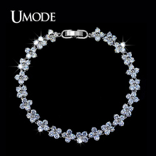 UMODE Bijoux Romantic Clover Shaped AAA CZ  Tennis Bracelets For Women Rhodium plated Jewelry Bracelet Femme AUB0025