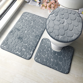 цена на 3PCs Bathroom Mat Set Embossing Flannel Floor Rugs Cushion Toilet Seat Cover Bathroom Mat WC Accessories For Home Decoration