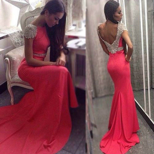 Backless Red Prom Dresses Mermaid Beaded Caped 2017 Court Train Scoop  Crystal Vestidos Formatura Evening Party Gowns d49077a942ab