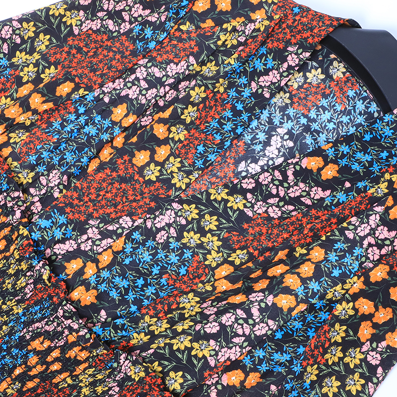 Femmes Violet Soie Design Pour Nouveau Robe Tendance Rouges 2019 Jaune D'été Longues Seqinyy Imprimé Genou Manches 100 Fleurs Bleu À TPpqHCP