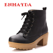 New Autumn Boots Spring Women Boots Artificial High Heel Platform Lace Up Ankle Boots Girls Shoes Big Size 34-43 Hot