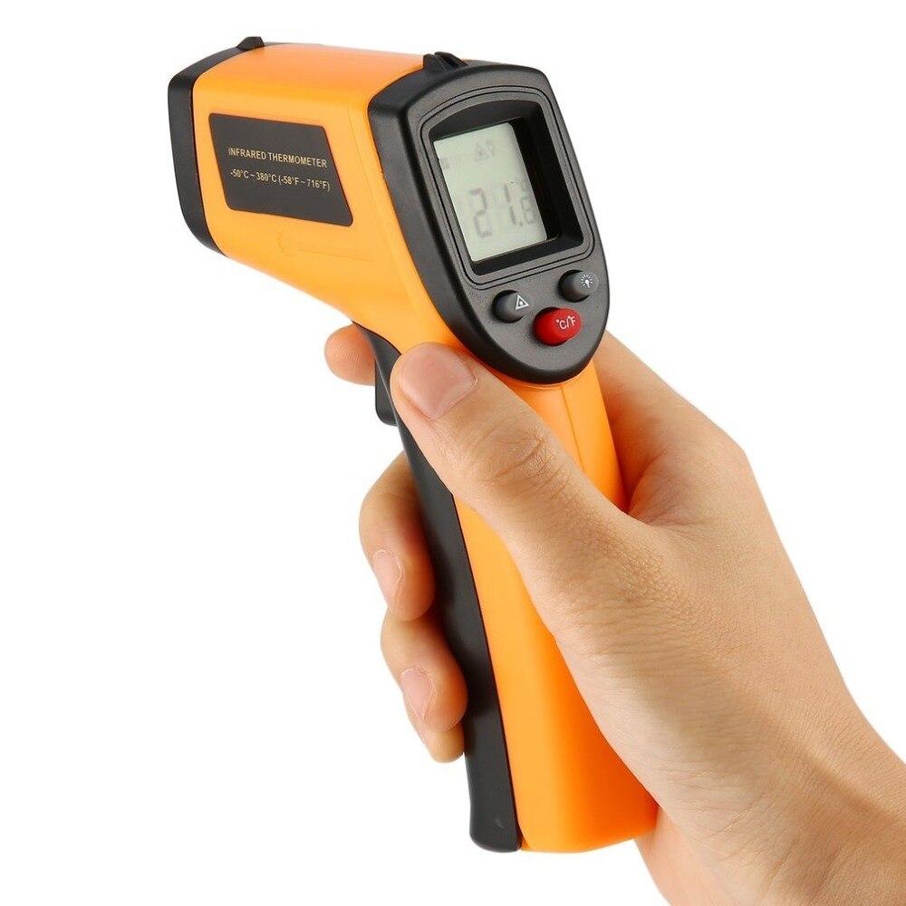 1 unid za GM320 láser LCD Digital IR termómetro infrarrojo temperatura medidor pistola Punto-50 380 grados termómetro sin contacto al por mayor