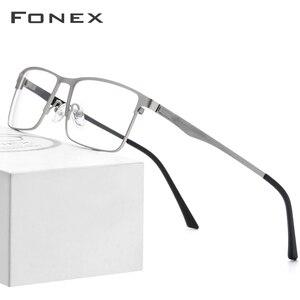 Image 1 - FONEX Alloy กรอบแว่นตาผู้ชายสแควร์สายตาสั้นแว่นตา 2019 ชายโลหะกรอบเกาหลีแว่นตาไร้สาย
