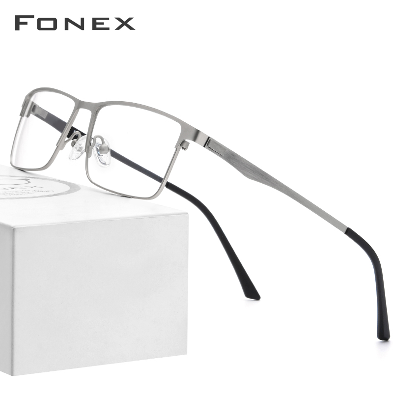 FONEX Alloy Glasses Frame Men Square Myopia Prescription Eyeglasses 2019 Male Metal Full Optical Frames Korea Screwless Eyewear
