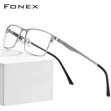 Fonex óculos de liga quadro masculino quadrado miopia prescrição óculos 2019 masculino metal completo ópticos quadros coreia screwless eyewear