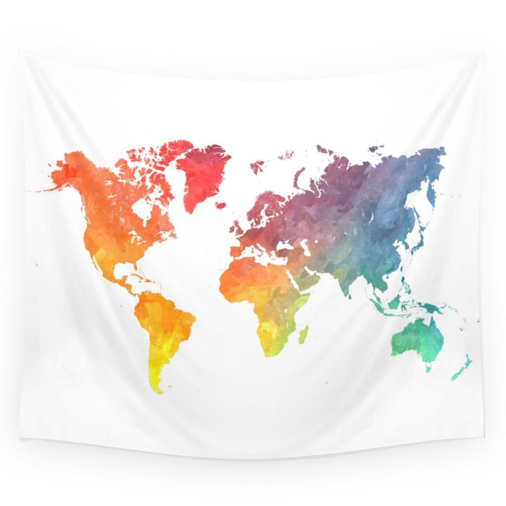Map Of The World Colored Wall Tapestry Wedding Party Gift Bedspread Beach Towel Yoga Pic ...