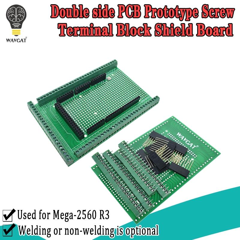 Kit Shield-Board Prototype-Screw-Terminal-Block Mega2560 R3 Double-Side WAVGAT for PCB