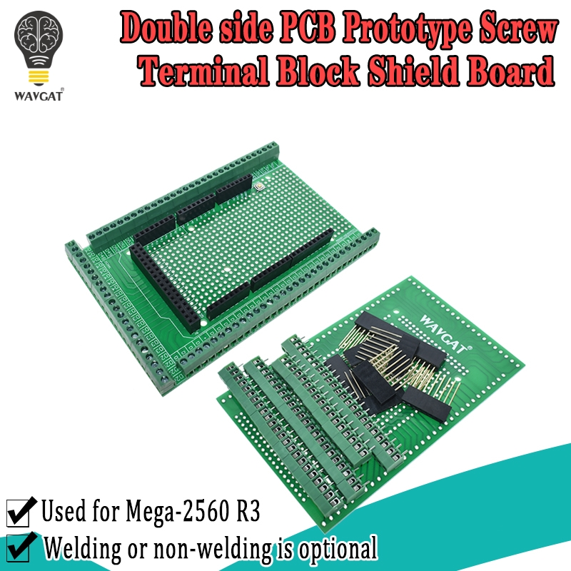 WAVGAT Kit Shield-Board Prototype-Screw-Terminal-Block Mega2560 R3 for PCB Double-Side
