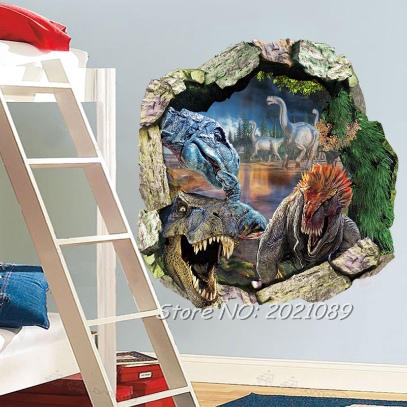 D Dinosaur Wall Art Wall Murals Ideas - 3d dinosaur wall decalsd dinosaur wall stickers for kids bedrooms jurassic world wall