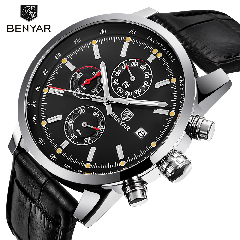 BENYAR New Fashion Chronograph Genuine Leather Sport Mens Watches Top Brand Luxury Military Quartz Watch Clock Relogio Masculino curren 2018 fashion military brown genuine leather belt chronograph calendar display mens quartz sport watches top brand luxury