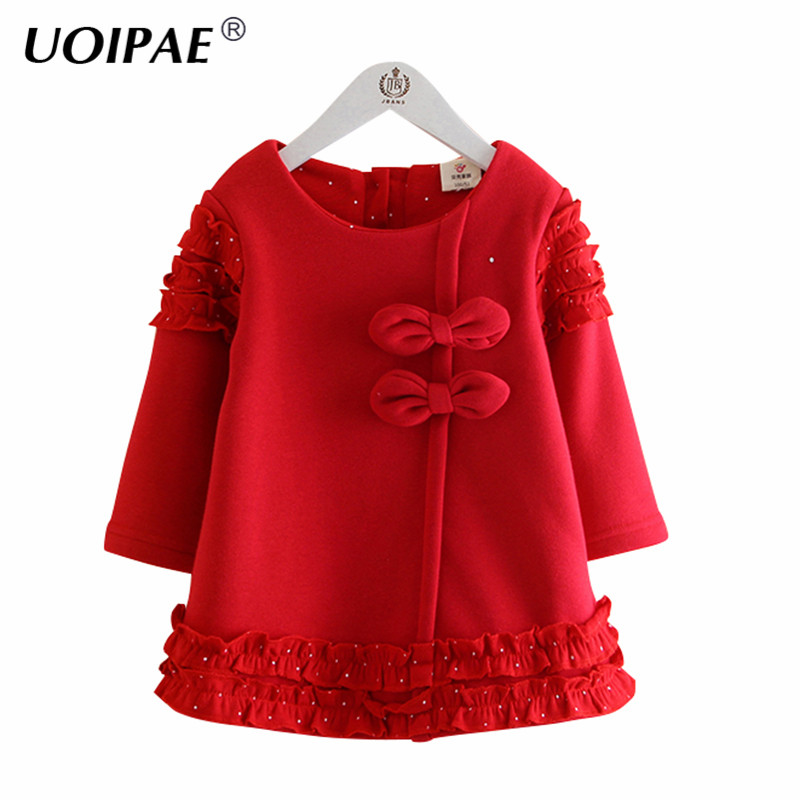 UOIPAE Kids Girls Party Dress 2017 Winter Fashion Bows Lace Dress For Kids Long Sleeve Plus Thick Cute Girls Clothes B0808