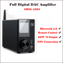SMSL AD18 HI FI USB DAC Bluetooth 4.2 Amplifier Audio Digital Stereo Power Amplifier 80W Amp with Remote Control finished new bluetooth 4 0 50wx2 digital power amplifier tpa3116 hi fi mini audio amplifier